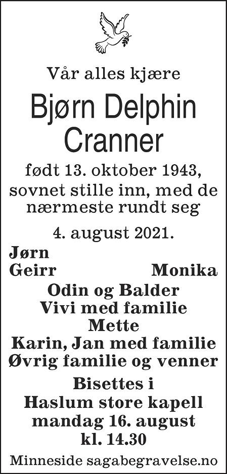 Bjørn Delphin Cranner Dødsannonse