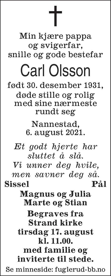 Carl Olsson Dødsannonse