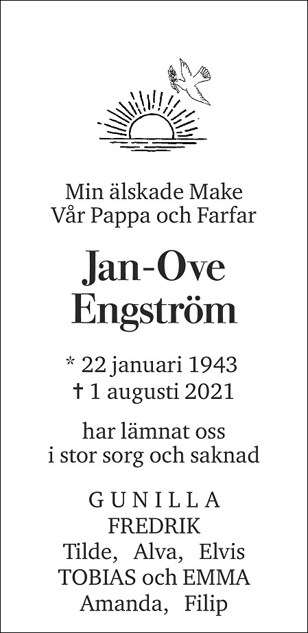 Jan-Ove Engström Death notice