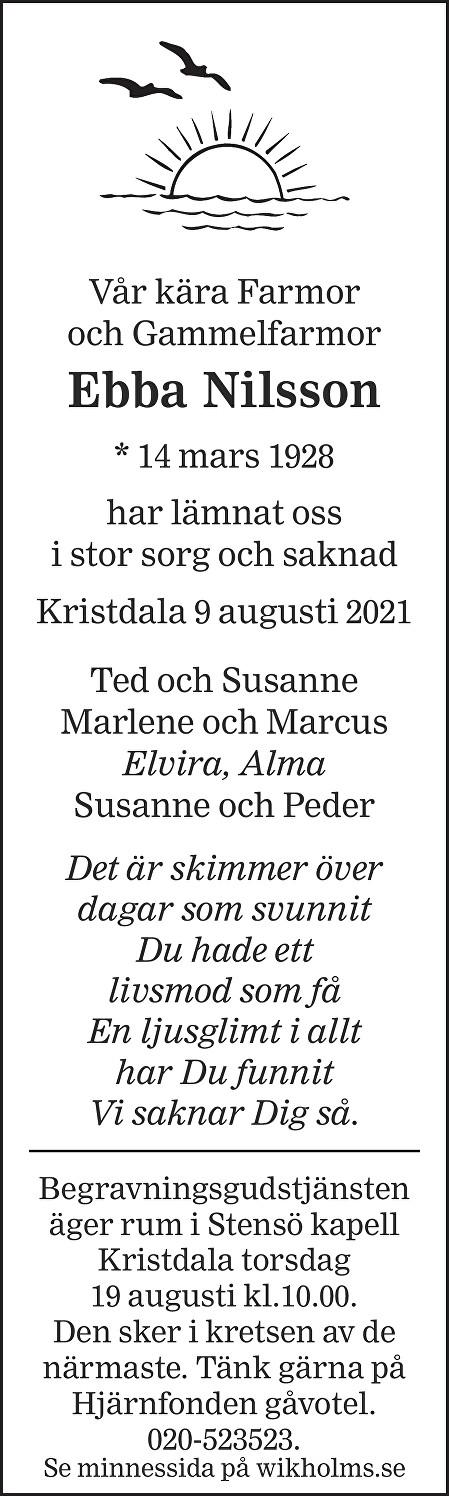 Ebba Nilsson Death notice