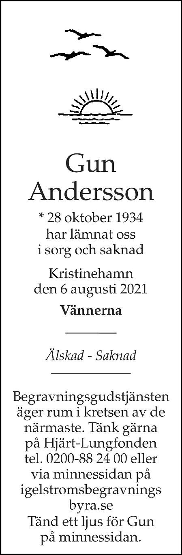 Gun Andersson Death notice
