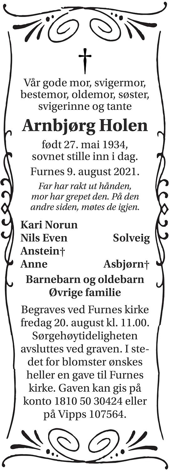 Arnbjørg Holen Dødsannonse