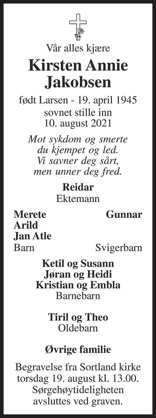 Kirsten Annie Jakobsen Dødsannonse