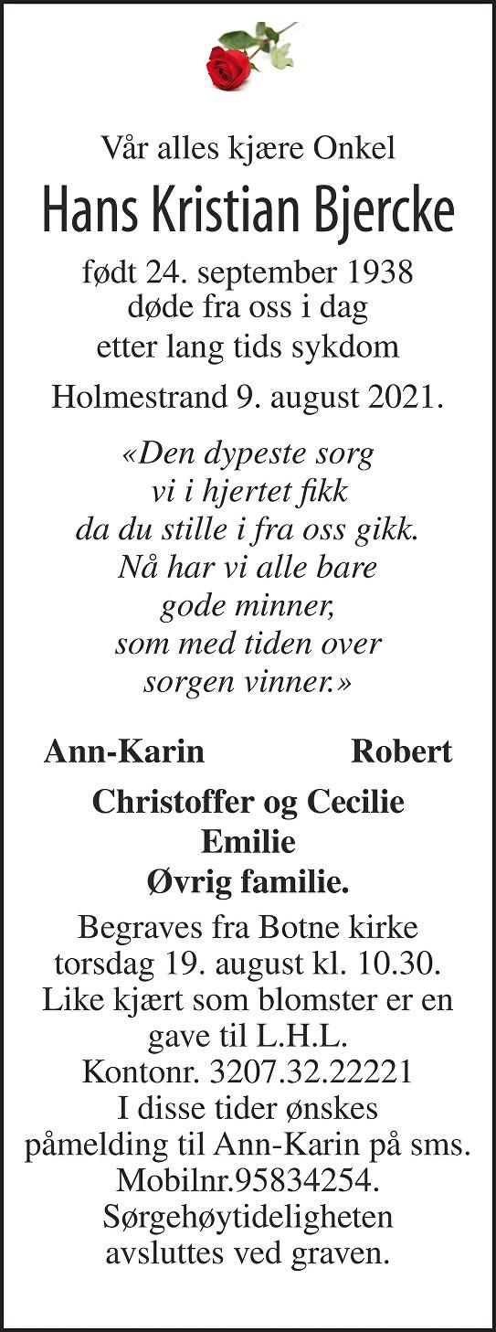 Hans Kristian Bjercke Dødsannonse