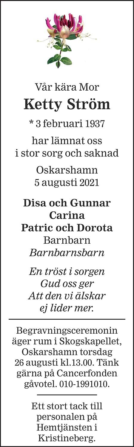 Ketty Ström Death notice