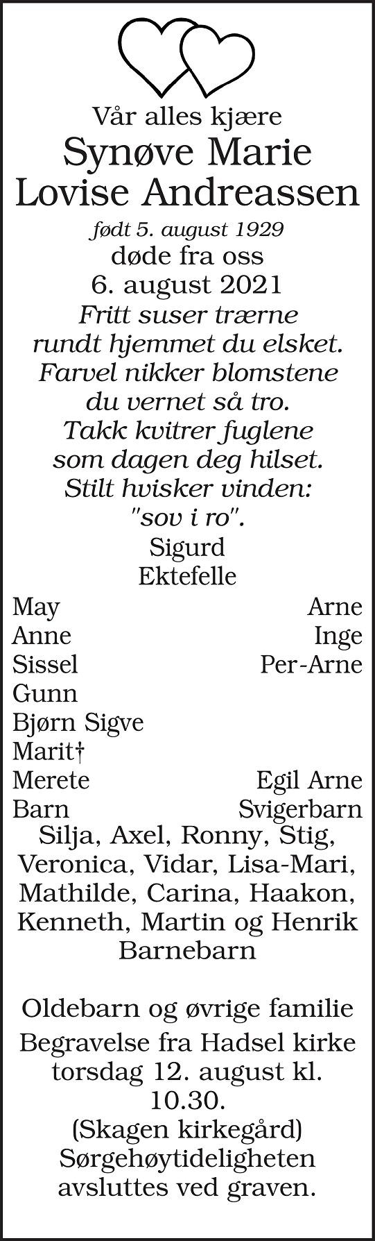 Synøve Marie Lovise Andreassen Dødsannonse