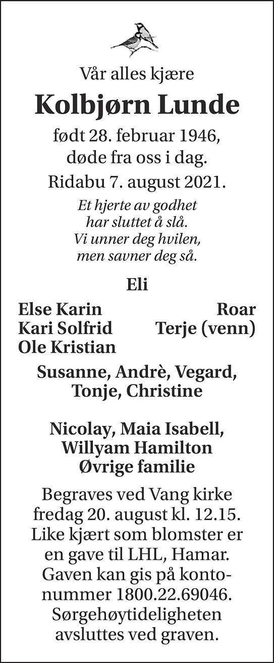 Kolbjørn Lunde Dødsannonse