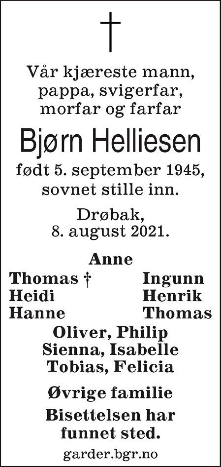 Bjørn Enok Helliesen Dødsannonse