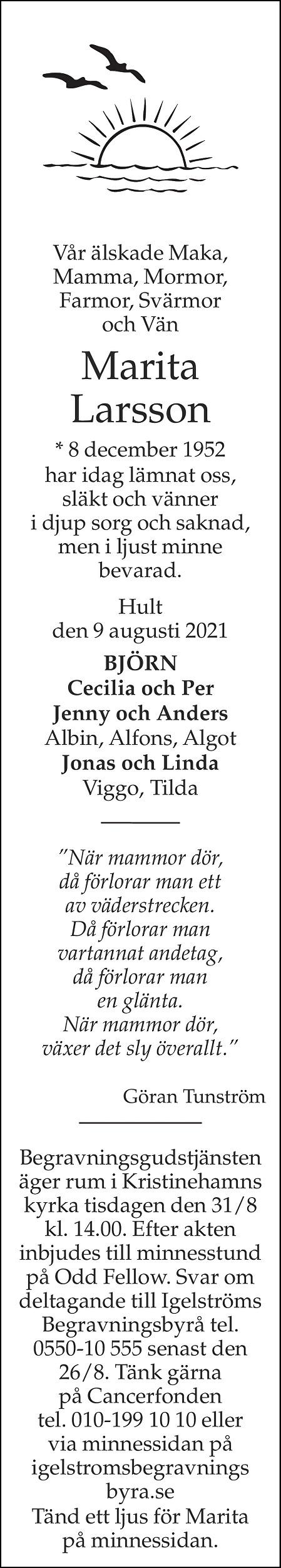 Marita Larsson Death notice