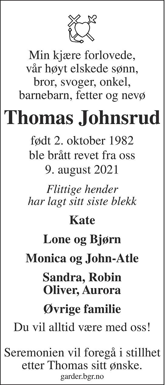 Thomas Johnsrud Dødsannonse