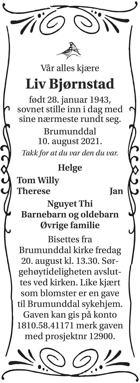 Liv Bjørnstad Dødsannonse