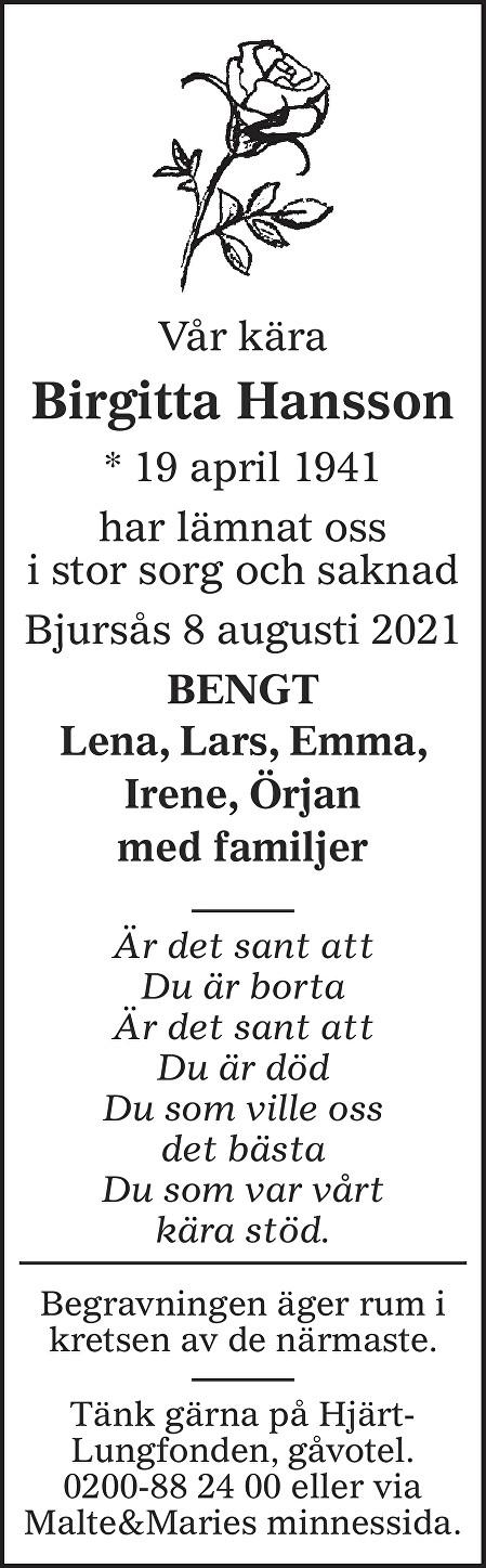 Birgitta Hansson Death notice