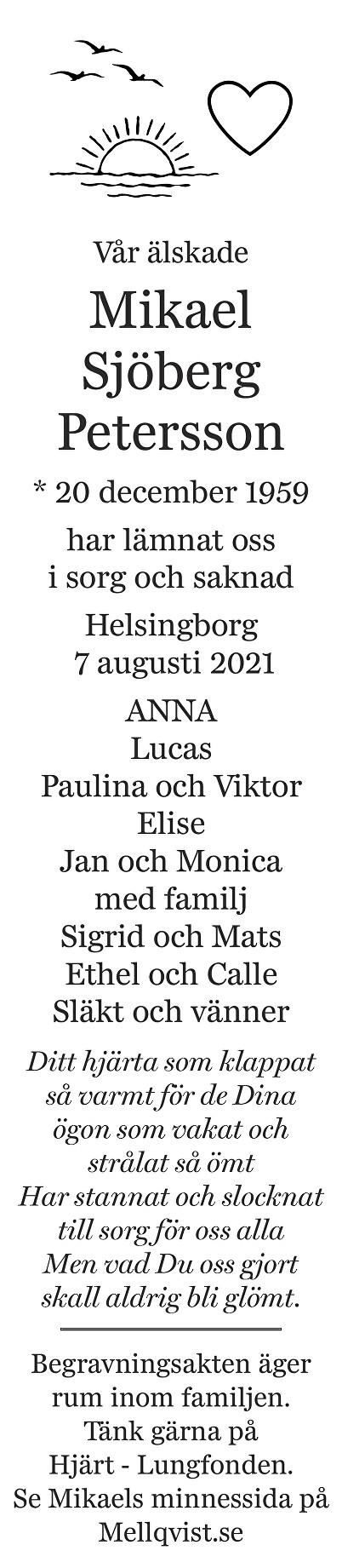 Mikael Sjöberg Petersson Death notice