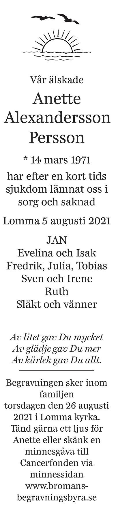 Anette Alexandersson Persson Death notice