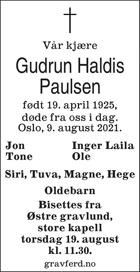 Gudrun Haldis Paulsen Dødsannonse