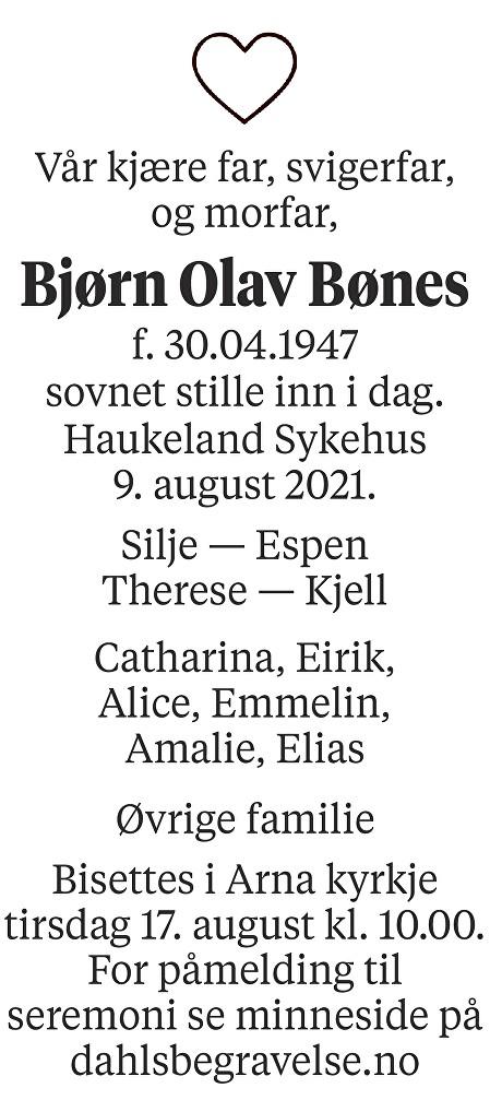 Bjørn Olav Bønes Dødsannonse