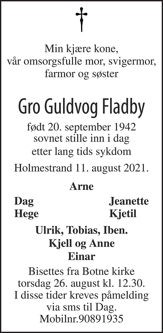 Gro Guldvog Fladby Dødsannonse