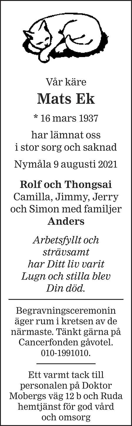 Mats  Ek Death notice