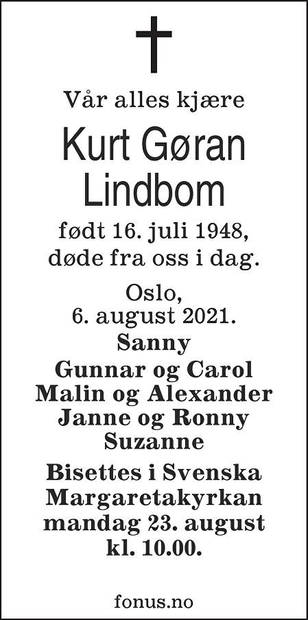 Kurt Gøran Lindbom Dødsannonse