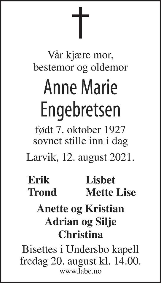 Anne Marie Engebretsen Dødsannonse