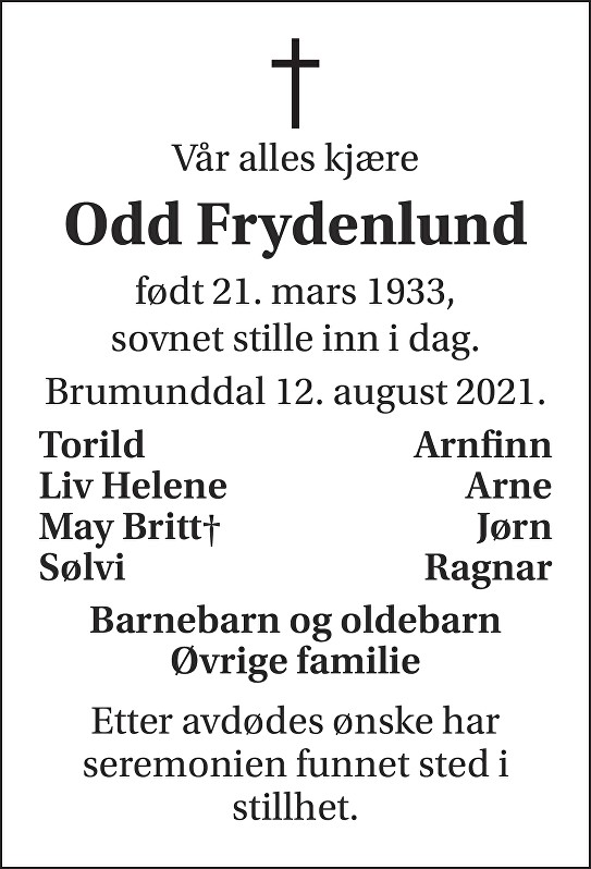 Odd Frydenlund Dødsannonse
