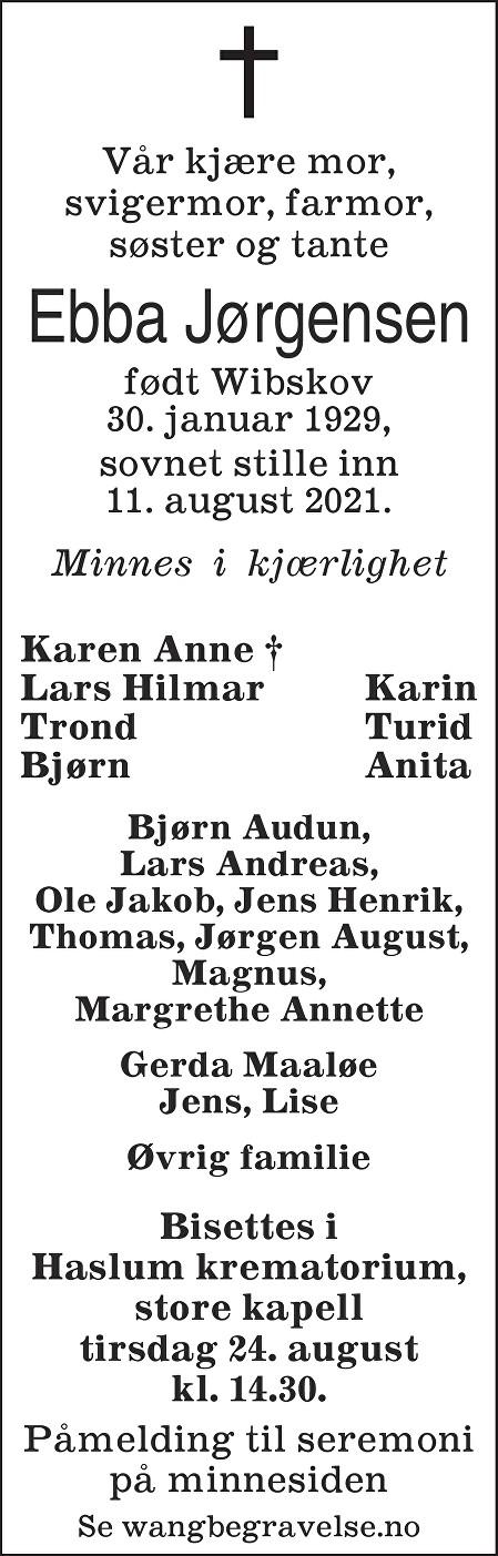 Ebba Jørgensen Dødsannonse