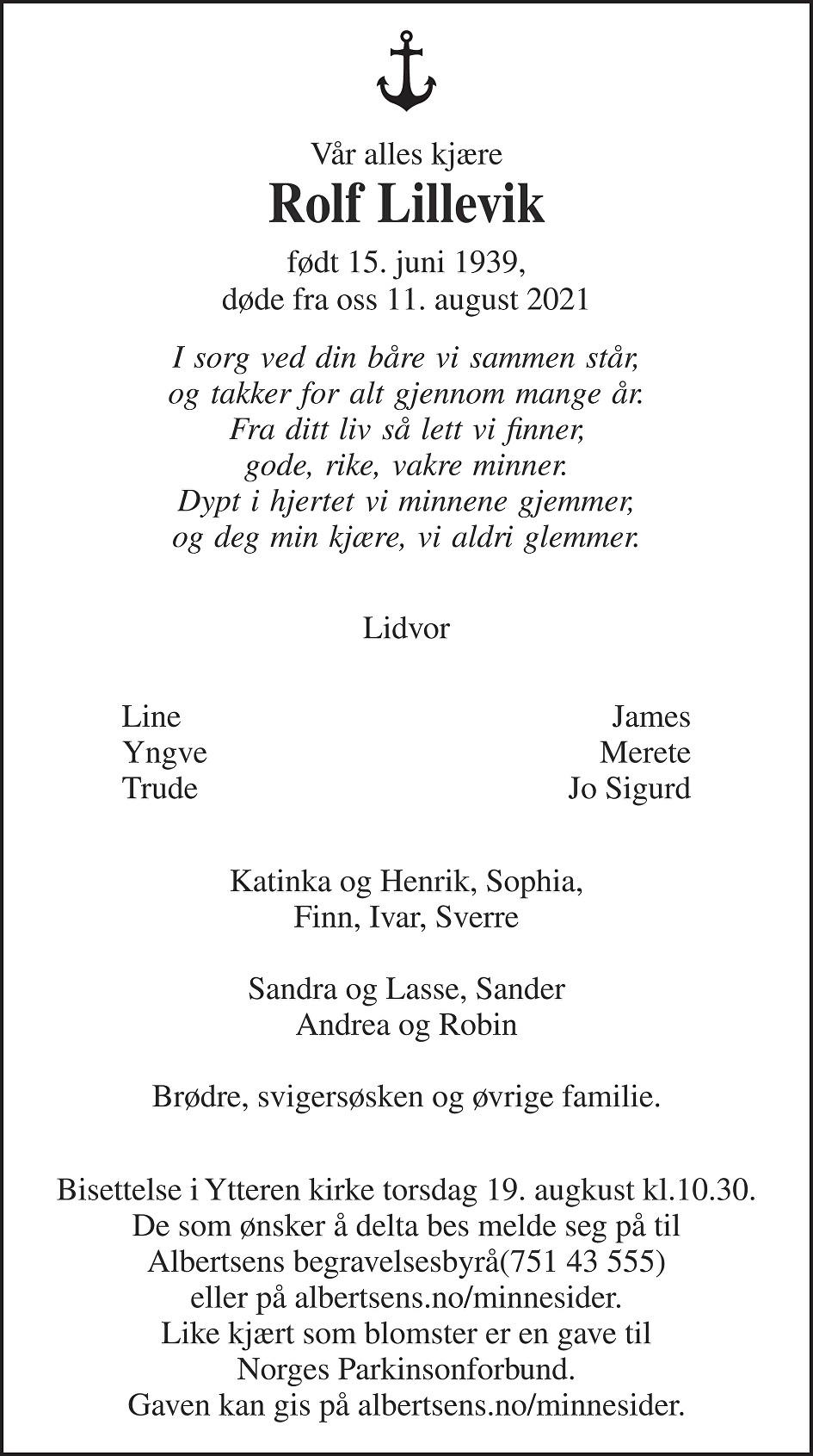 Rolf Lillevik Dødsannonse