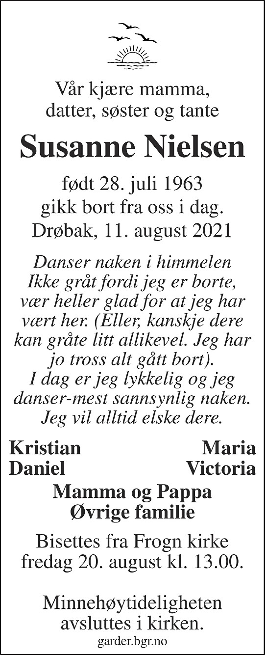 Susanne Nielsen Dødsannonse