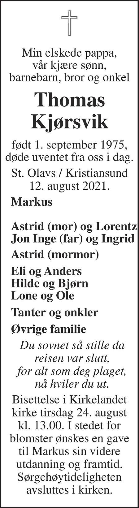 Thomas Kjørsvik Dødsannonse
