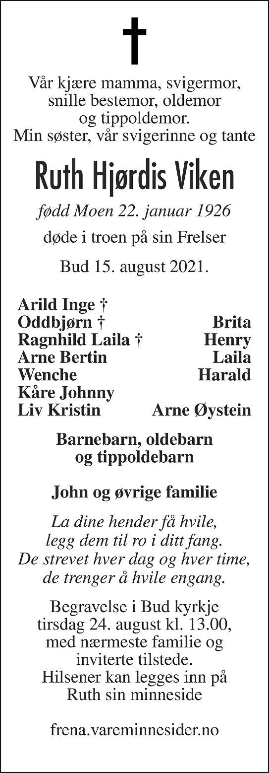 Ruth Hjørdis Viken Dødsannonse