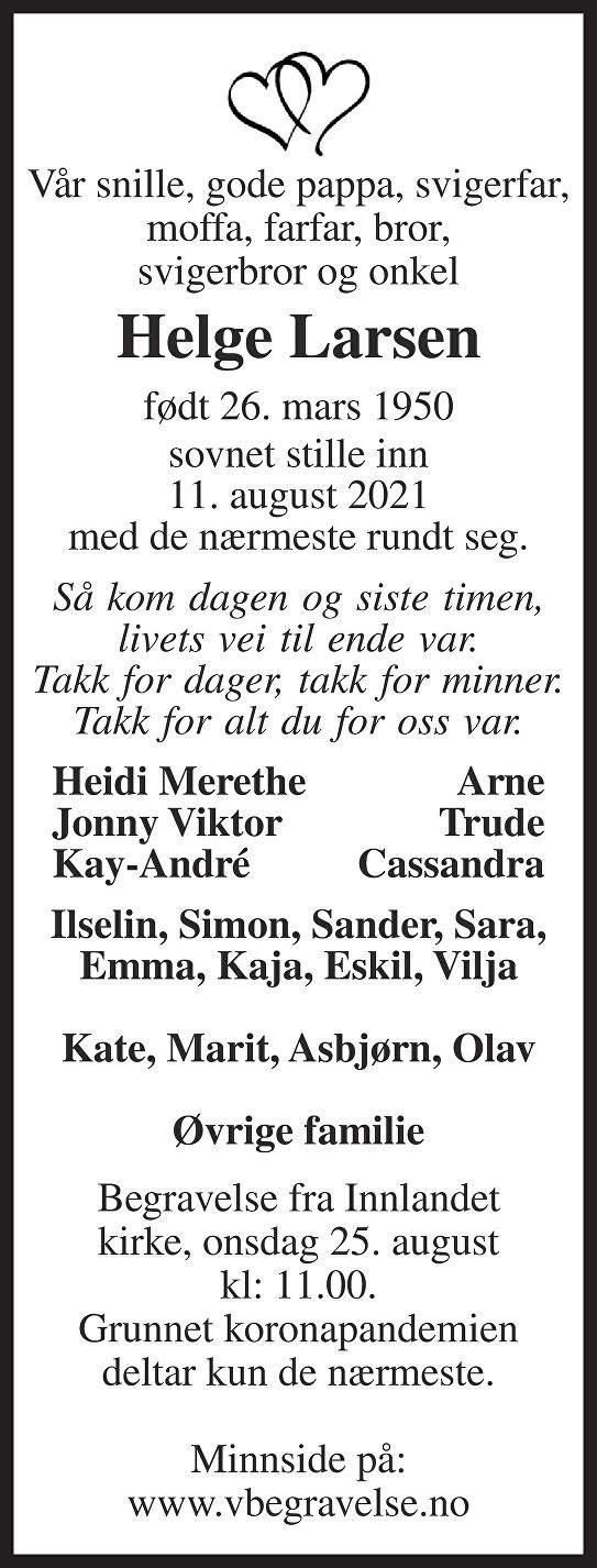 Helge Larsen Dødsannonse