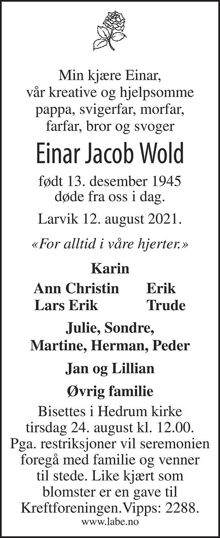 Einar Jacob Wold Dødsannonse