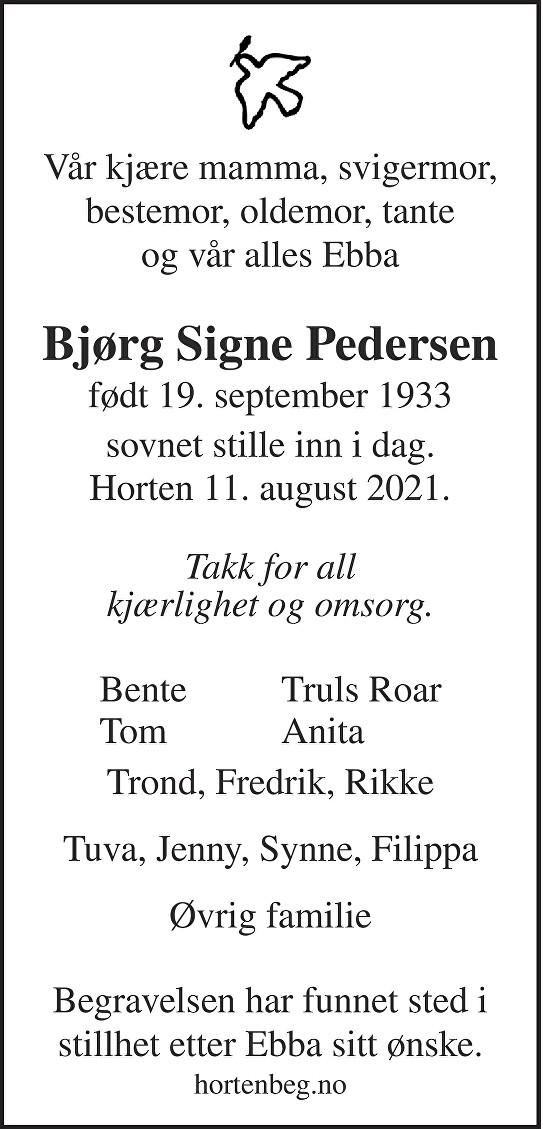 Bjørg Signe Pedersen Dødsannonse