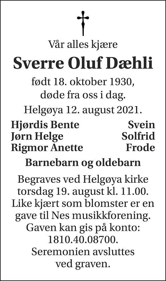 Sverre Oluf Dæhli Dødsannonse