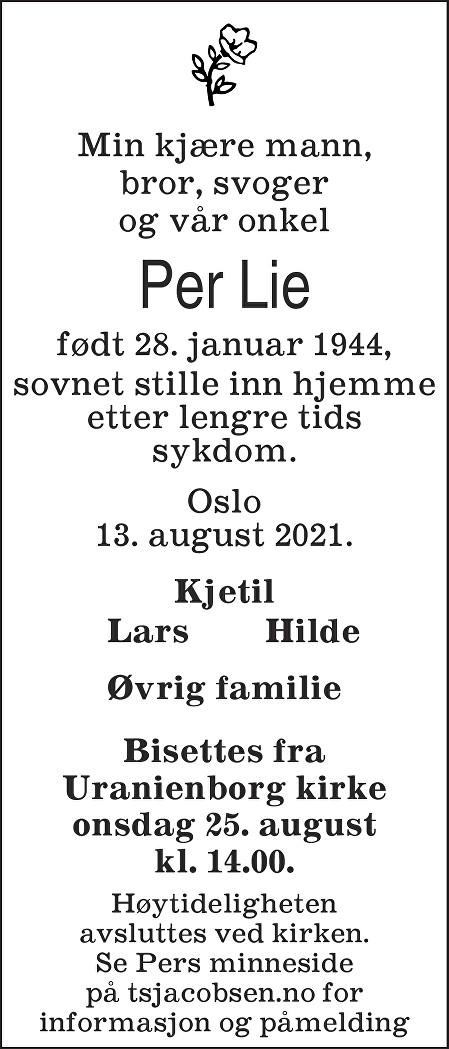 Per Lie Dødsannonse