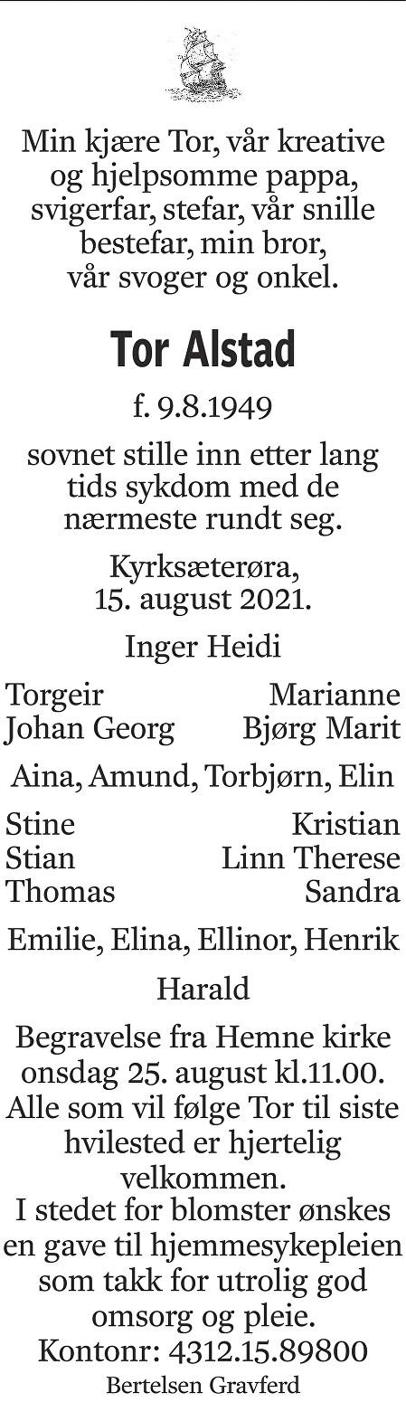 Tor Alstad Dødsannonse
