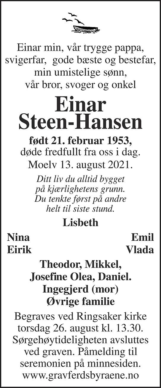 Einar Steen-Hansen Dødsannonse