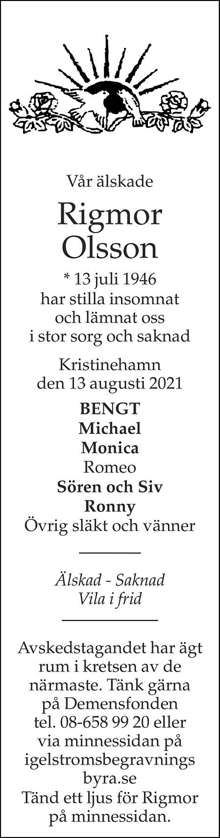 Rigmor Olsson Death notice