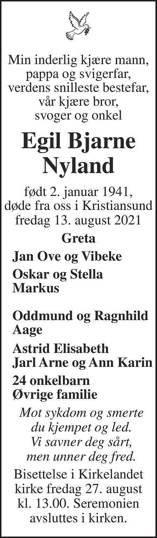 Egil Bjarne Nyland Dødsannonse