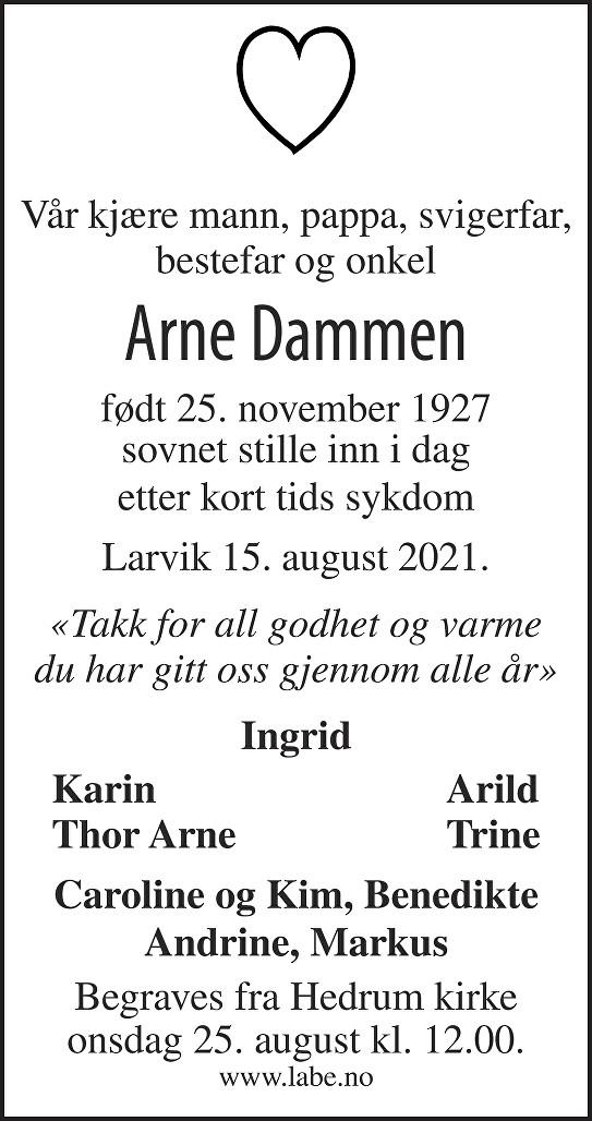 Arne Dammen Dødsannonse