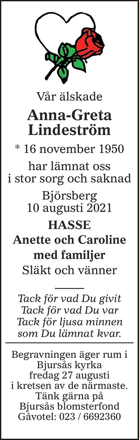 Anna-Greta Lindeström Death notice