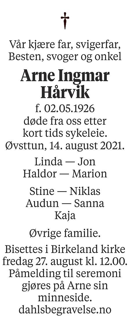 Arne Ingmar Hårvik Dødsannonse