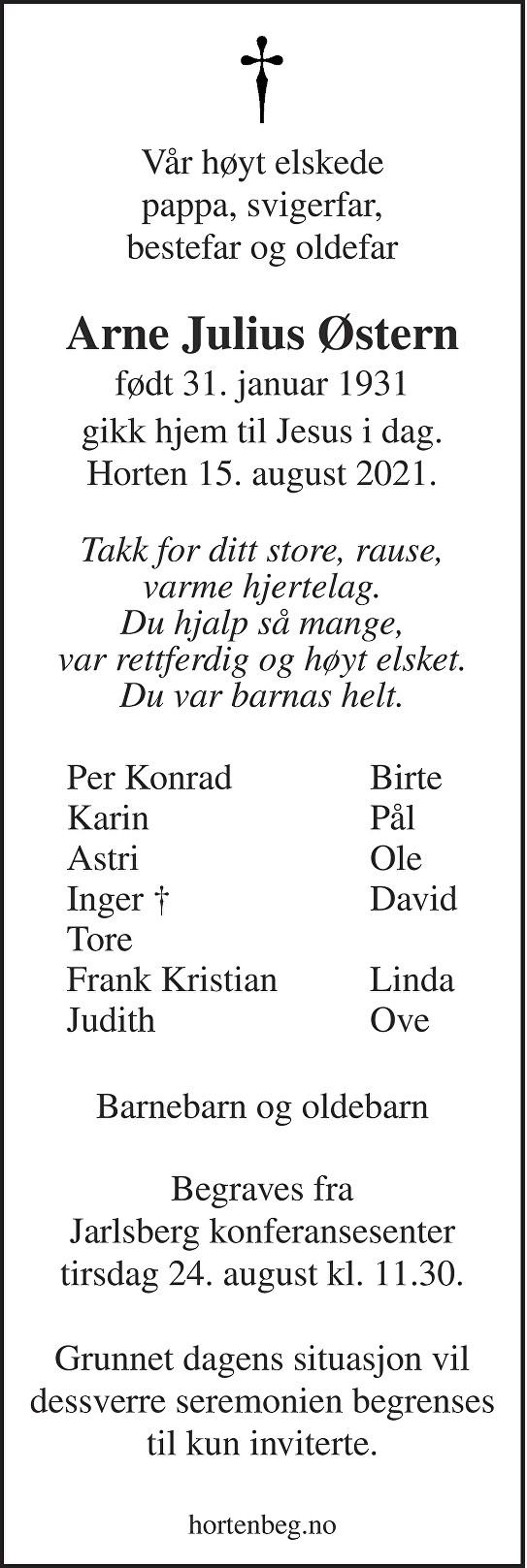 Arne Julius Østern Dødsannonse