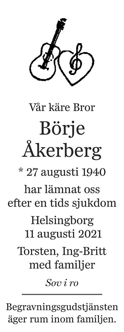 Börje Åkerberg Death notice