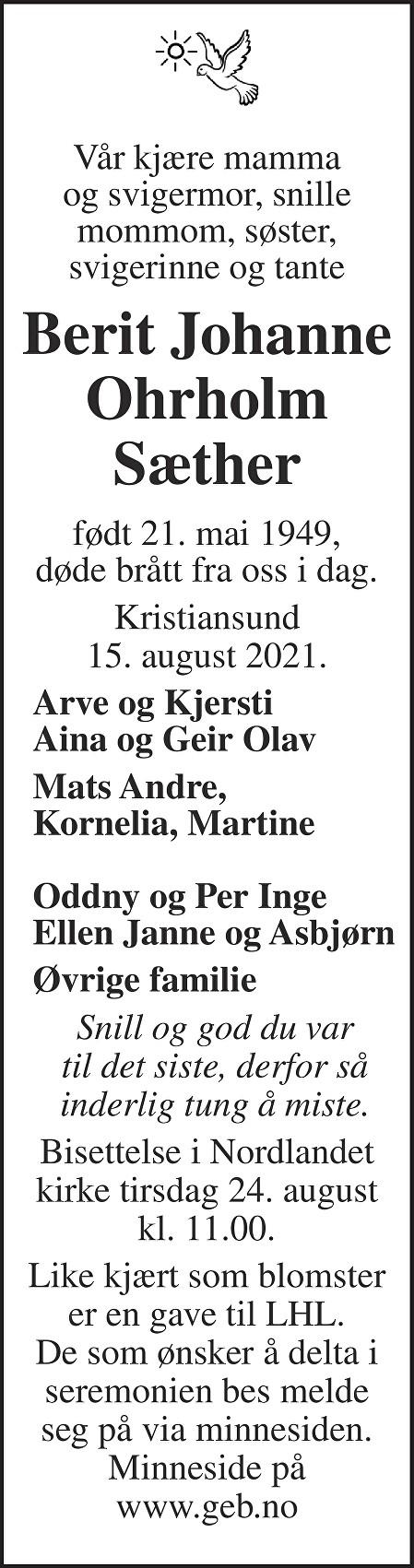 Berit Johanne Ohrholm Sæther Dødsannonse