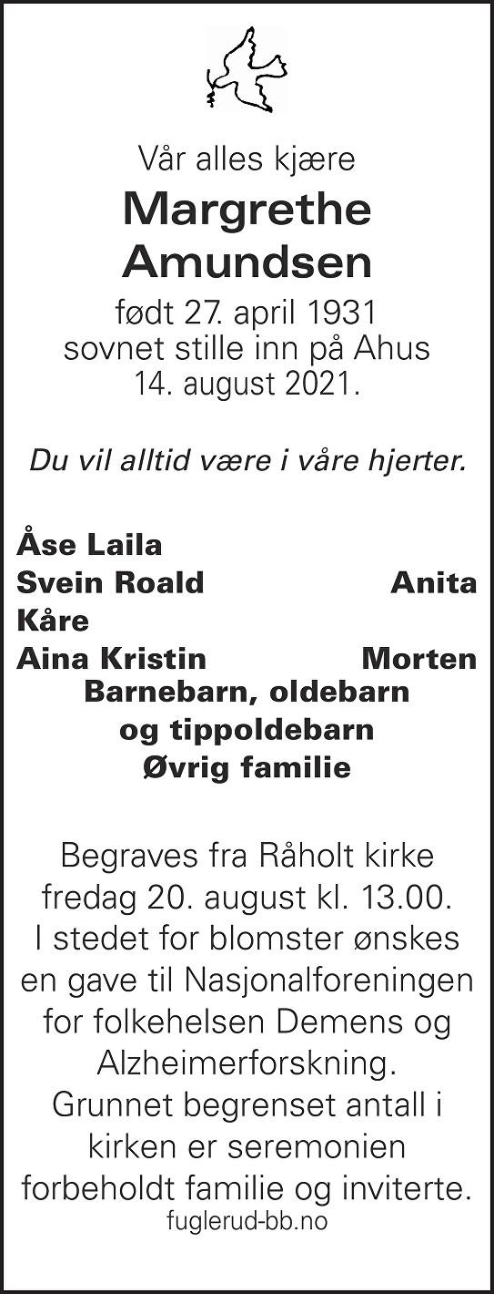 Margrethe Amundsen Dødsannonse