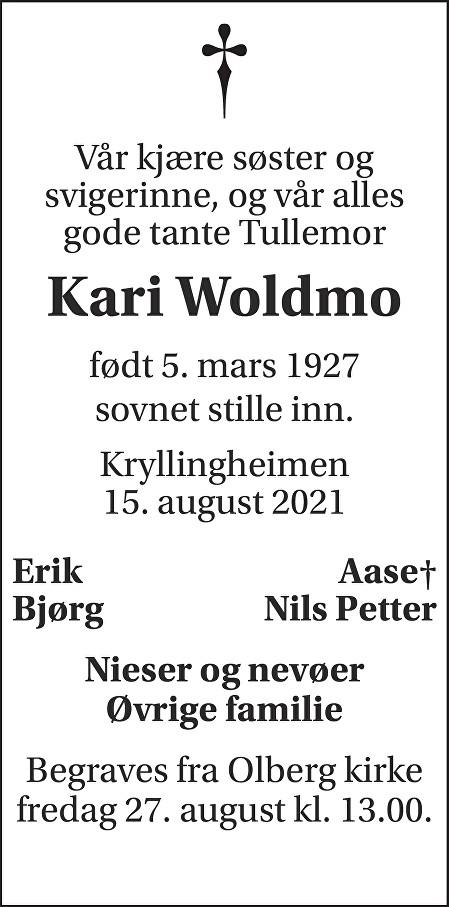Kari Woldmo Dødsannonse