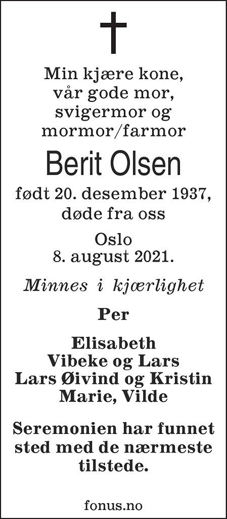 Berit Olsen Dødsannonse