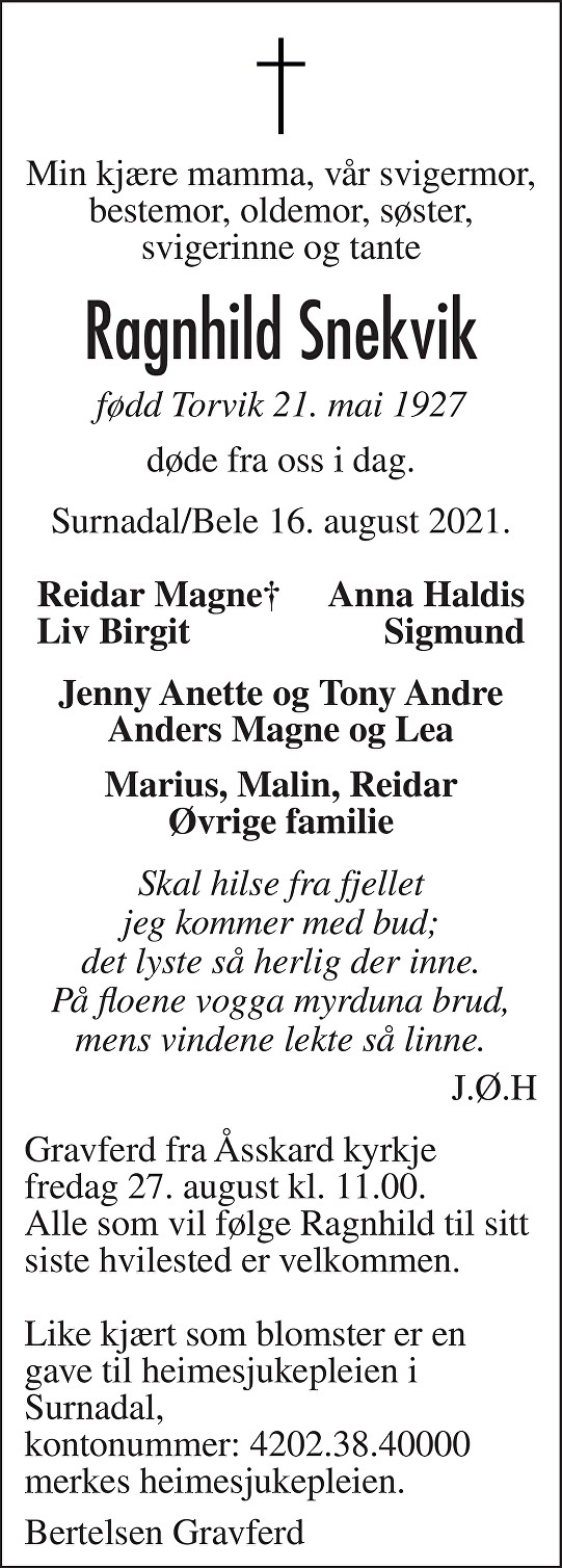 Ragnhild Snekvik Dødsannonse