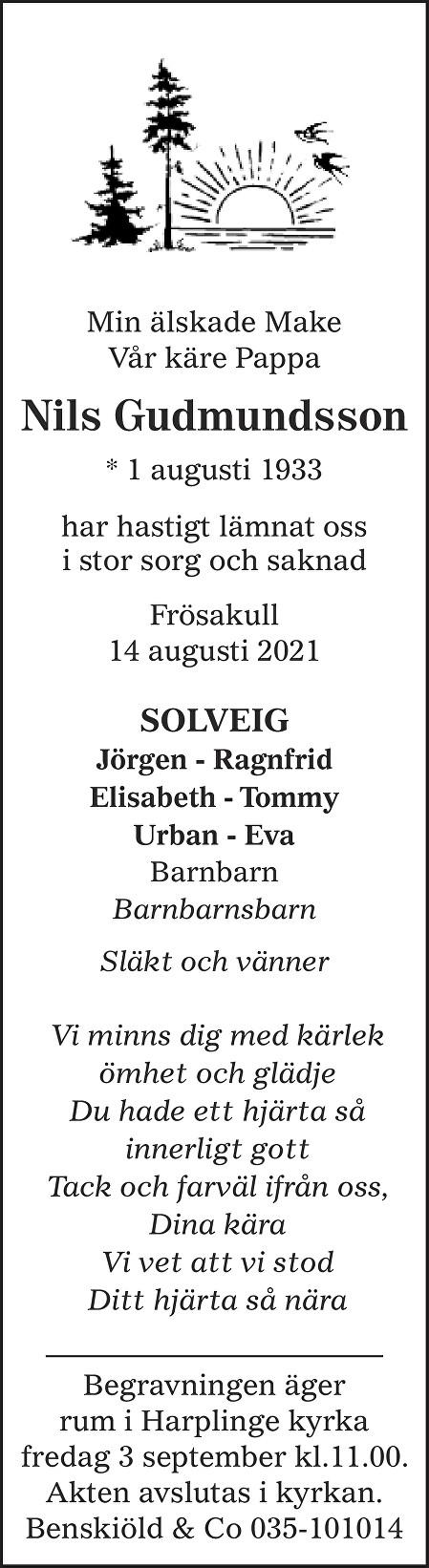 Nils Gudmundsson Death notice